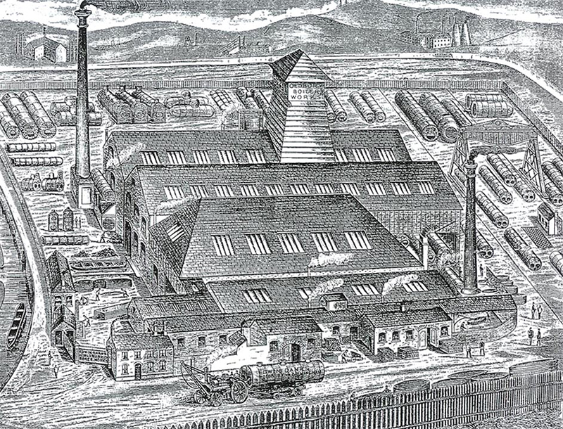 Fig 1 - Etching of Oldbury Boiler Works (Circa 1890).
